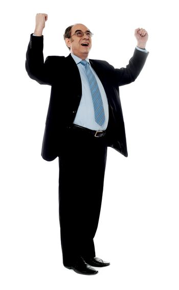 Corporate man standing with arms up against white background
