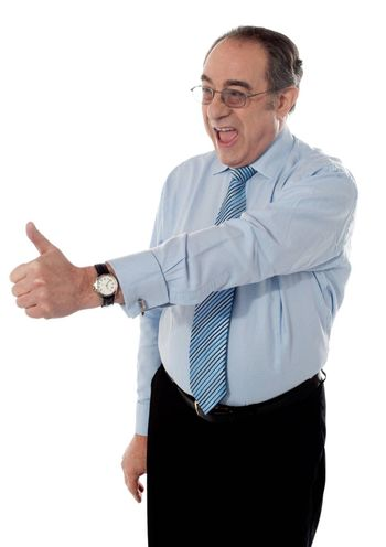 Successful entrepreneur showing thumbs-up isolated on white