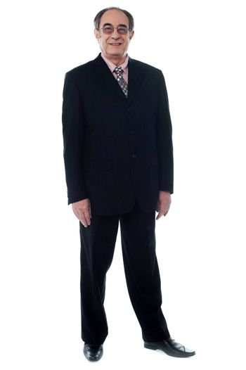 Man standing in natural way on white background