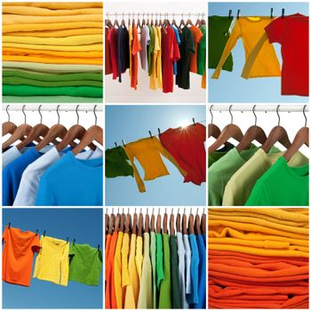 Variety of multicolored casual clothing