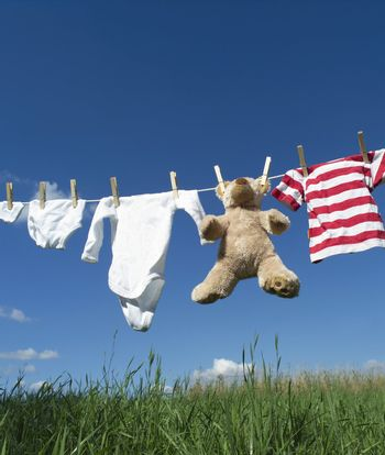 Baby clothing on a clothesline