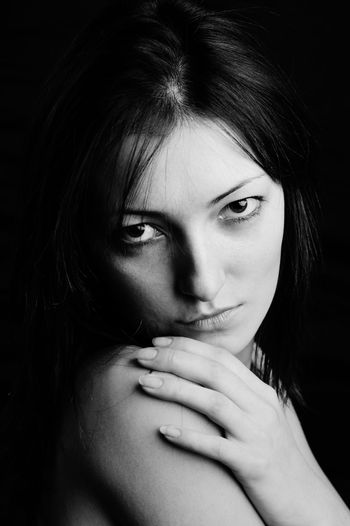 An image of a young beautiful woman (black and white)
