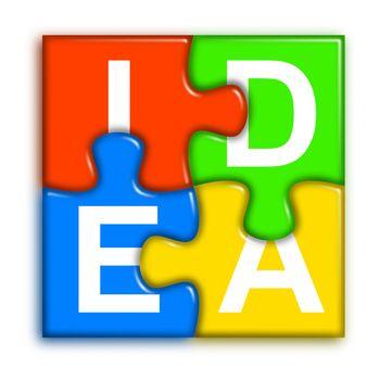 Combined multi-color puzzle - idea concept 2