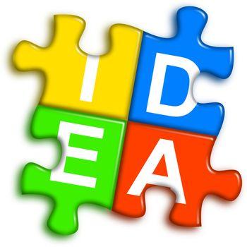 Combined multi-color puzzle - idea concept