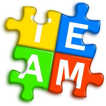 Combined multi-color puzzle - team concept