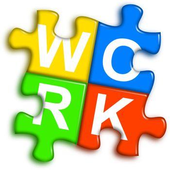 Combined multi-color puzzle - work concept