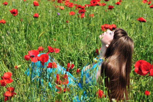 longhaired romantic young woman resting in poppy field