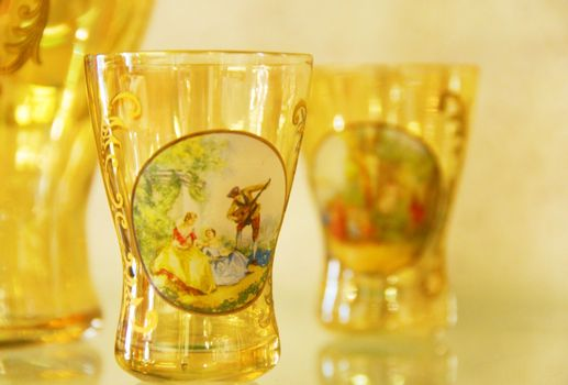 Hand-made small glass covered with drawing