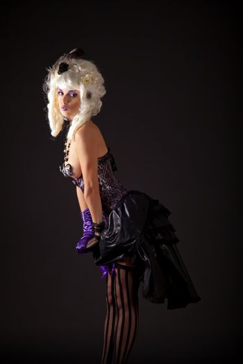 Attractive woman in burlesque outfit