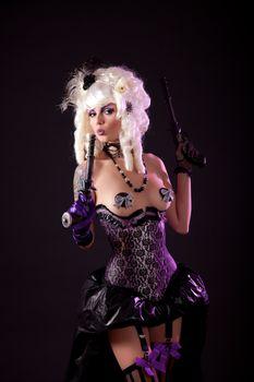 Burlesque girl with guns