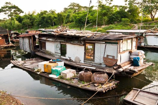 Rural slum on rier, favela in China