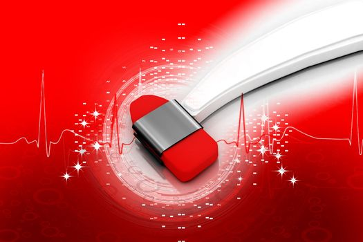 Digital illustration of medical equipment in medical color background        Digital illustration of stethoscope in color background