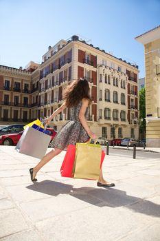 hurry up shopping woman