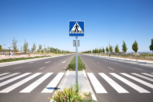 lonely street with crosswalk