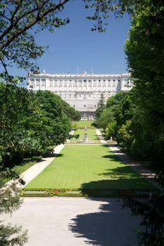 Madrid royal palace from Campo del Moro
