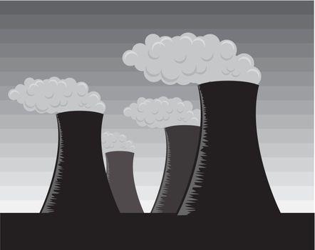Vector industrial factories, grayscale