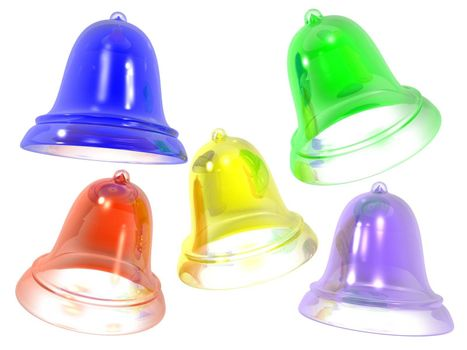 3D colored glass bells on white
