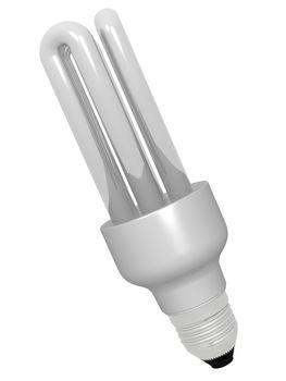 3D energy saving lamp on white
