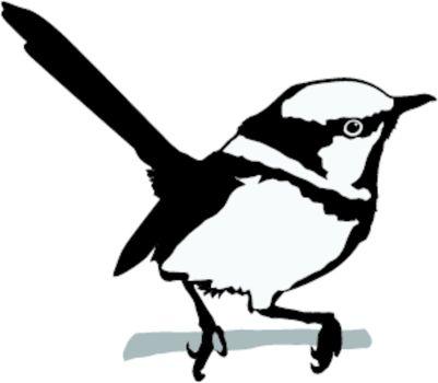 Illustration in style of black silhouette of wren