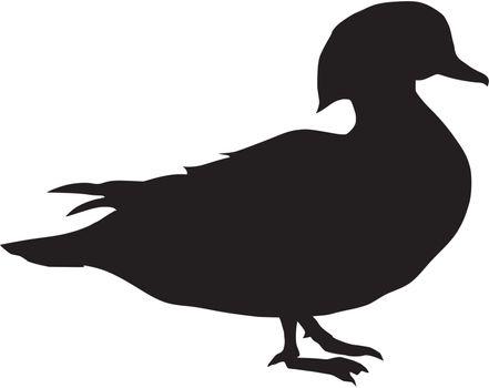 Illustration in style of black silhouette of mandarin duck