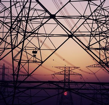Abstract background of electricity pylons