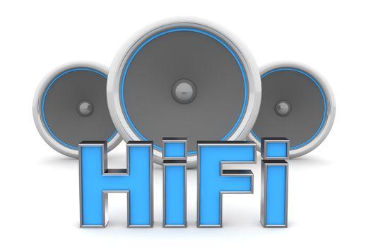 Three Speakers - HiFi in Blue