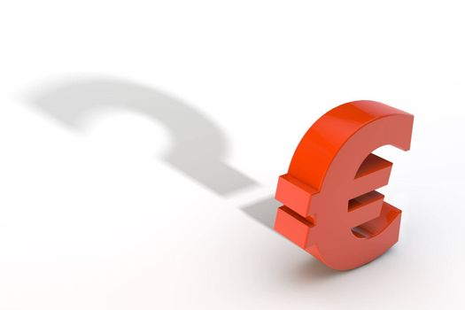 Red Euro Currency Symbol with Question Mark Shadow