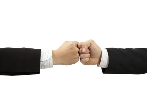 two fists of businessman's hand