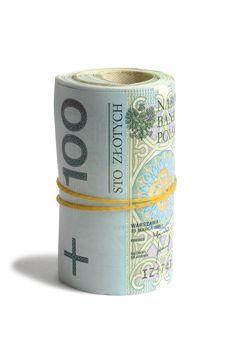 Macro of Polish bank notes on white background
