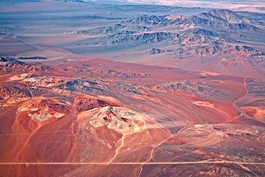 aerial view of volcanoes, Atacama desert, Chile