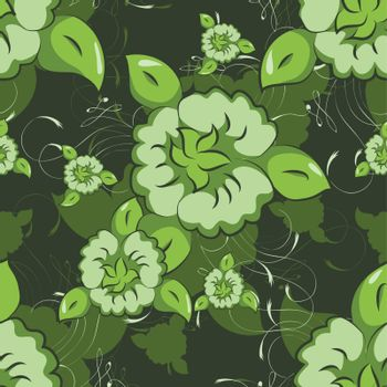 Seamless texture illustration with flowers and leaves