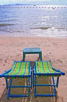 chairs at pattaya beach Thailand