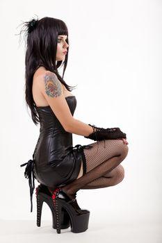Sexy woman in mini dress