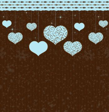 Valentines vector background with hearts and ornate