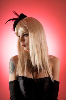 Sensual woman in black corset