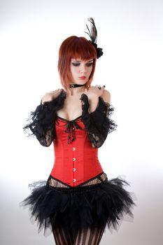 Sensual woman in red corset