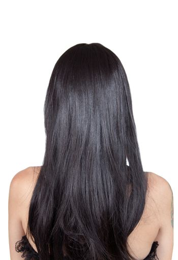 Rear view of girl with black silky hair