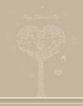 Valentines background with tree, hearts and snowflakes