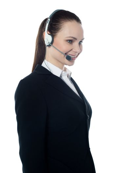 Beautiful help-desk female executive isolated over white