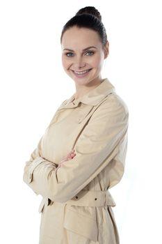 Fashionable glamor lady, smiling