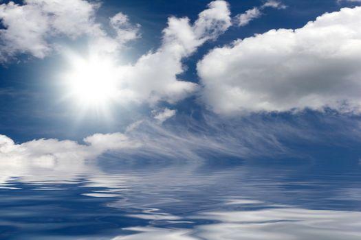 Cloudy sky over the sea