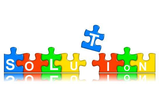 Combined multi-color puzzle - solution concept