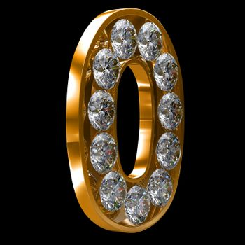 Golden 0 numeral incrusted with diamonds