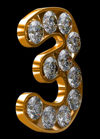 Golden 3 numeral incrusted with diamonds