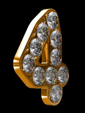 Golden 4 numeral incrusted with diamonds