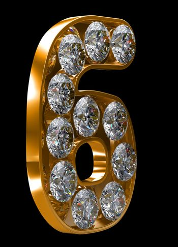 Golden 6 numeral incrusted with diamonds