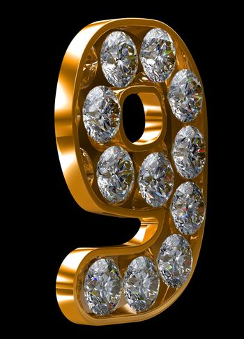 Golden 9 numeral incrusted with diamonds