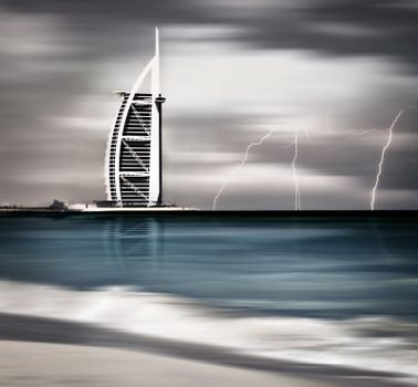 Thunderstorm and lightning on Dubai beach