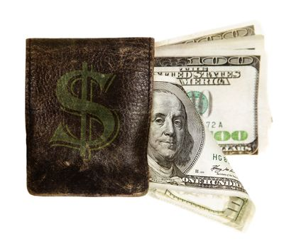 hundred dollar banknotes in the purse