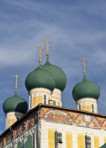The domes of the Resurrection Cathedral in Tutaev, Russia